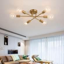Moderne Sputnik plafonniers luminaire nordique Semi encastré plafonniers brossé Antique or éclairage 6 lumières décor à la maison