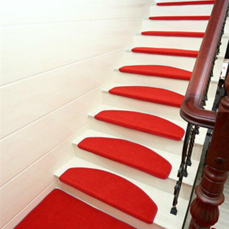 15 pièces tapis d'escalier Set résistance au glissement tapis de bande de roulement d'escalier doux tapis anti-dérapant tapis de marchepied 65X24cm adapté pour escalier de 25cm de largeur