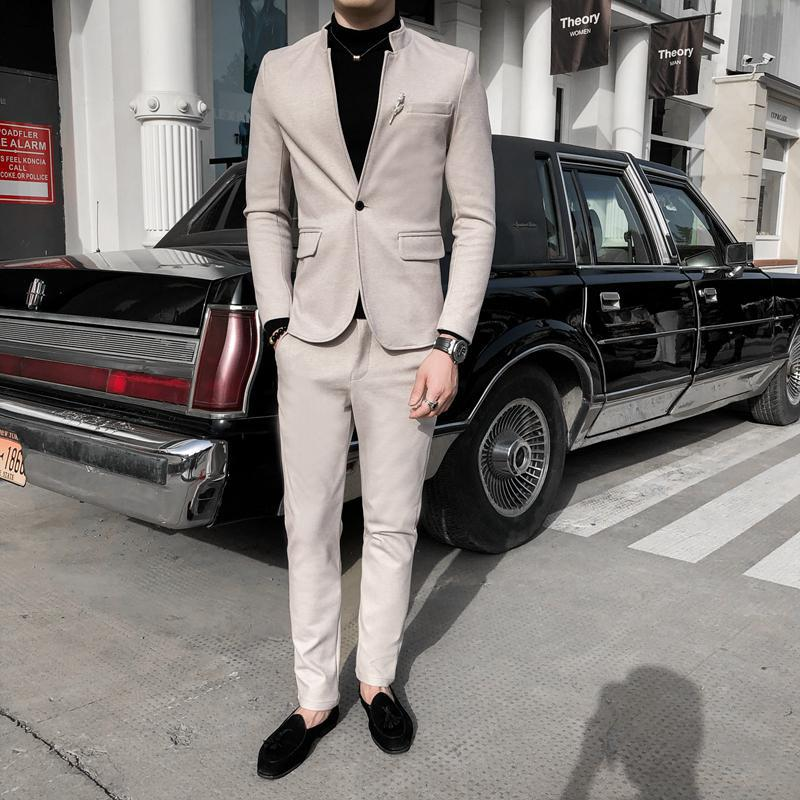 2020 Chinese Style Business Casual Men Jacket + Suit Pants Autumn New Collarless Male Slim Fit Two Pieces Suit Set Men Clothing