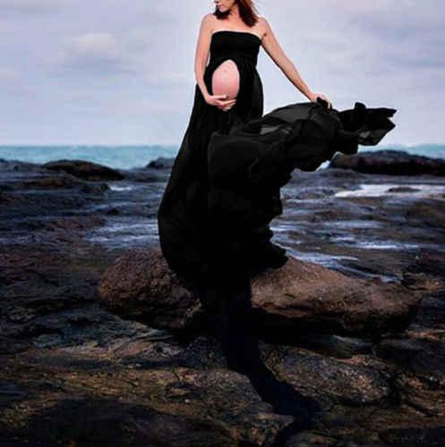 Sommer Schwangere Frauen Fotografie Requisiten Kleider Off Schulter Kleid Schulterfrei Mutterschaft Kleidung