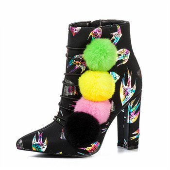 Animal Print Women Ankle Boots Colorful Pompon High Heels Pointed Toe Fashion Autumn Winter Boots Women Pumps