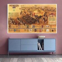 150*100cm 1996 os mongóis mapa decoração do vintage não-tecido lona pintura parede cartaz decorativo sala de estar decoração para casa