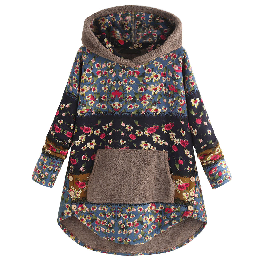Women Winter  Loose Floral Print Hooded Outwear Coats Casual Female Vintage Warm Pockets Thick Plus Size худи женские