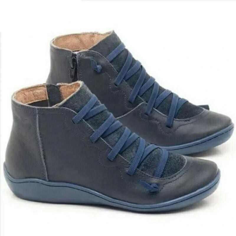 PU Leder Stiefeletten für Frauen Herbst Winter Kreuz Streifen Vintage Frauen Punk Stiefel Schuhe Damen Flache Frauen Stiefel Frau