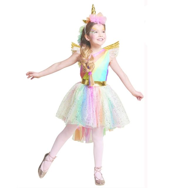 Umorden Movie Unique Deluxe Kids Rainbow Unicorn Costume for Girls Halloween Carnival PartyDress