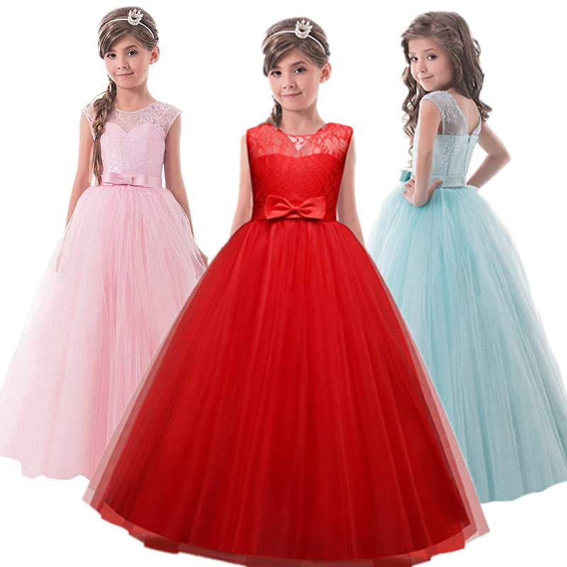 Lace Christmas Party   Dresses   for   Girls   Clothes Children's For Kids Prom Gown   Flower   Wedding Gown Teenage   Girl   Clothing 8 12 14T