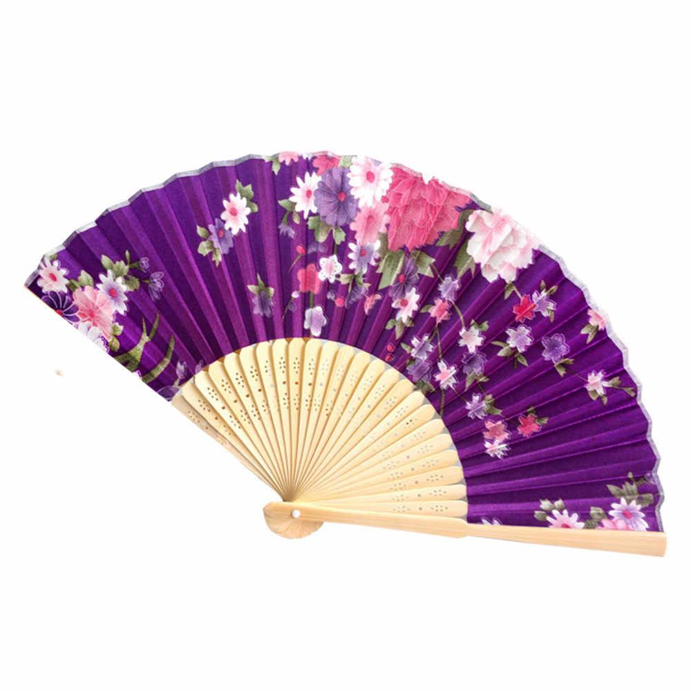 Vintage bambú plegable de mano abanico de flores de baile chino fiesta de bolsillo regalos embellecer ocio ventilador delicado moda práctica