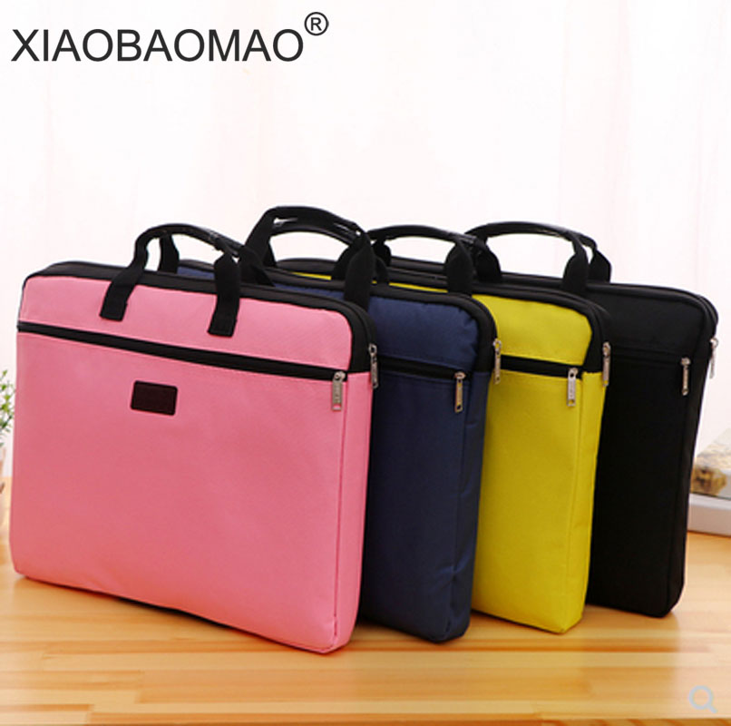 6 colors A4 Document Bag Big Capacity Double Layers Book File Folder Holder with Handle Zipper Waterproof Canvas Handbag for Bus 1