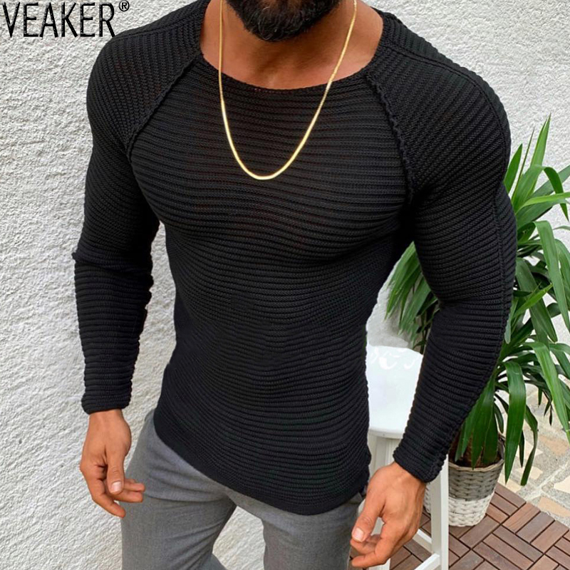 2020 New Men's Striped Patchwork O-Neck Sweater Male Autumn Winter Sexy Slim Fit Black Sweaters Pullovers High Street Solid Tops