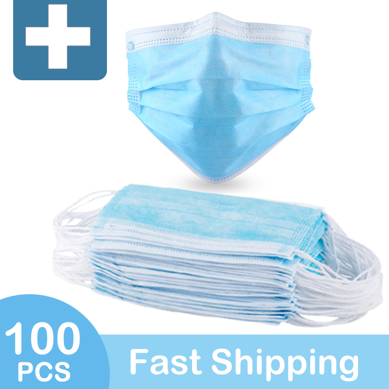 Protection Mask Disposable Women Anti 3-Layers Face Masks Elastic Ear Loop Meltbown Cloth Dust Filter Safety Mask