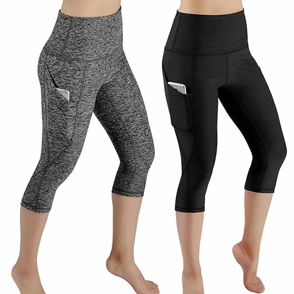 Donne Ranning Pantaloni Allenamento Fuori di Tasca Leggings di Fitness A Vita Alta Fitness Calzamaglie Sottile Sport Palestra Yoga Pantaloni Da Ginnastica 2019