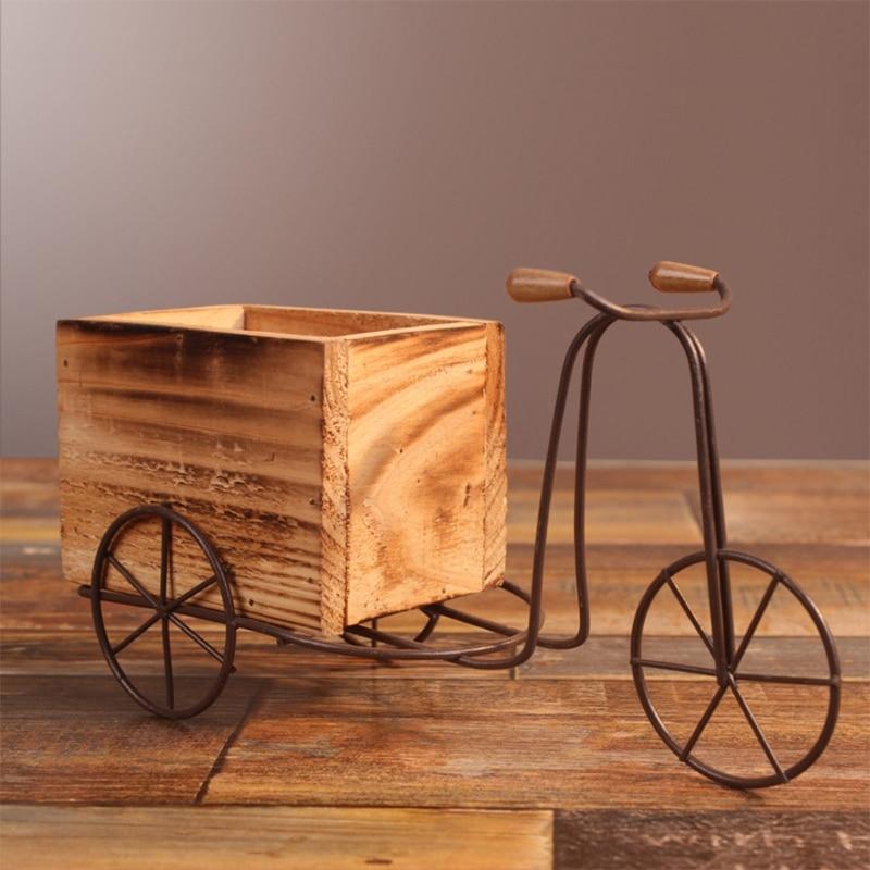 Pastorale fer vélo fleur support intérieur balançoire Table Tricycle en bois Pot de fleur support maison bureau jardin décoration
