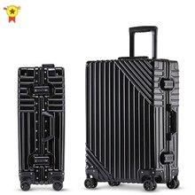Aluminium Frame Rolling Bagage Spinner Meisje Trolley Reistas 20Inch Mannen Business Carry Op Koffers Wiel 24