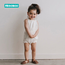 Medoboo European Cotton Girl Baby Summer Bodysuit Lace Backless Infant Children Princess Dress Romper Jumpsuit Clothes