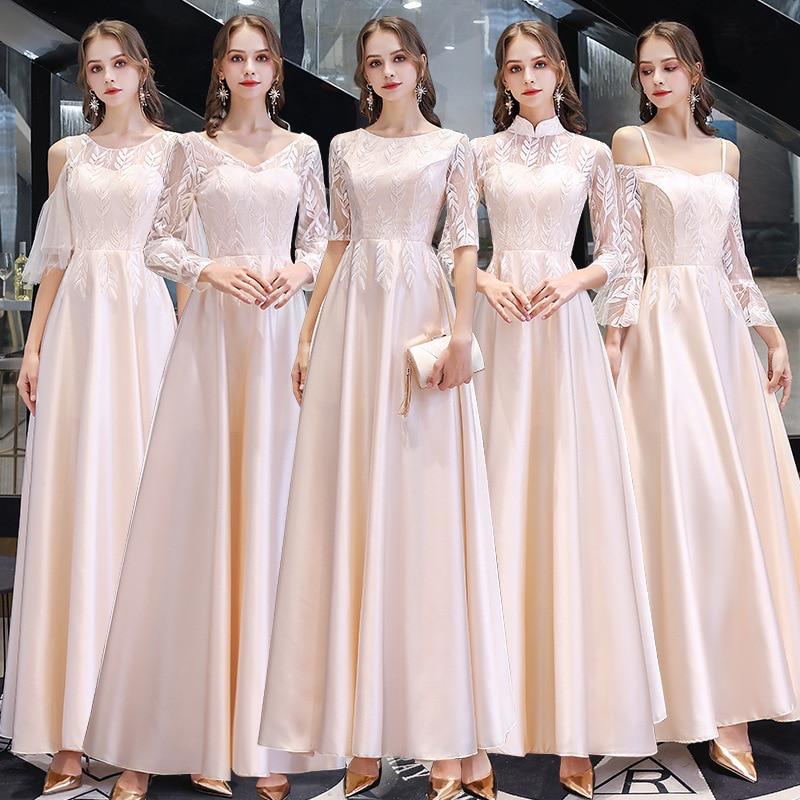Bridesmaid Dresses O-Neck A Line Floor Length Elegant Vestido De Festa 2020 Half Sleeve Women Formal Wedding Guest Gowns R014