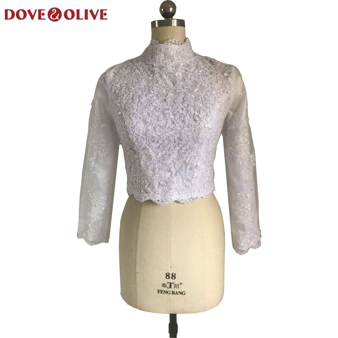 Long Sleeves Wedding Bolero White Ivory Lace Deep V-neck Bridal Shawl Jacket