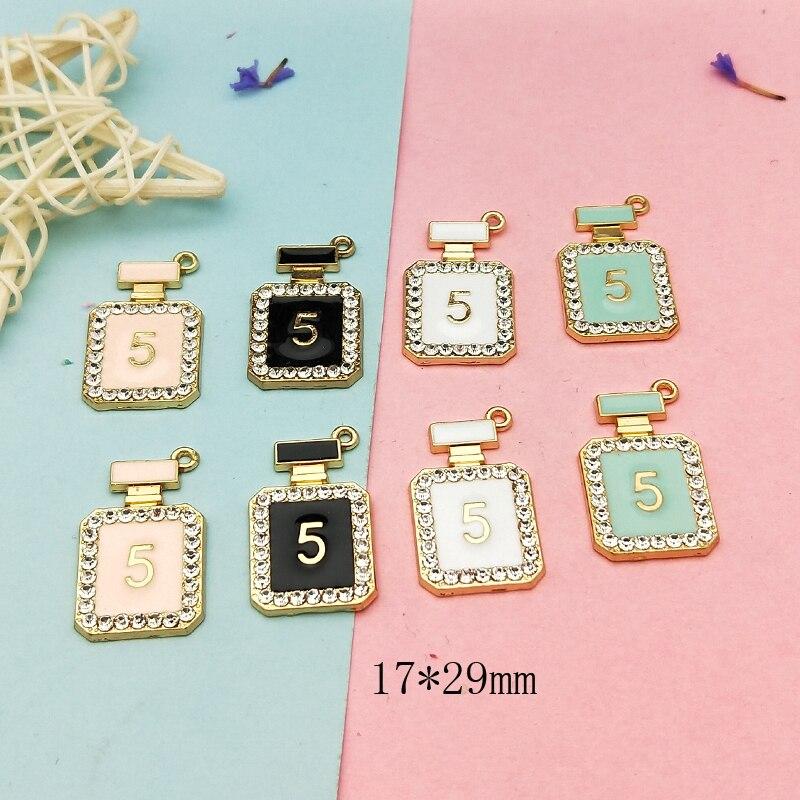 10pcs Rhinestone Perfume Bottle Enamel Charms Metal Pendants Fit DIY Bracelet Earrings Floating  Jewelry Accessories Golden Base