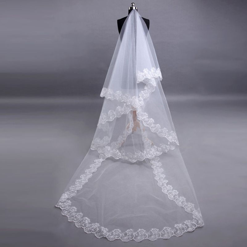 1 Layer Women Bridal White Ultra Long Wedding Veil Wide Embroidered Hexagonal Floral Applique Edge Marriage Solid Without Comb