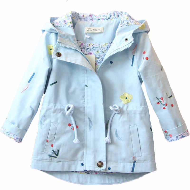 Girls Floral Coat 2019 Spring And Autumn NEW Girls Cotton Flower Embroidery Windbreaker Drawstring Hooded Long Jacket