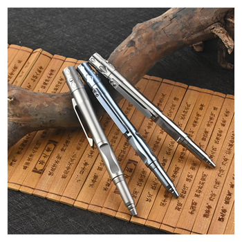 High-End TC4 Titanium Tactical Pen Emergency Self Defense Glass Breaker Flashlight Outdoor Survival Protector EDC Tool Gift