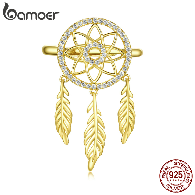 Bamoer Real 925 Sterling Silver Jewelry Dreamcatcher Adjustable Finger Ring For Women Feather Bohemian Style Jewelry BSR073