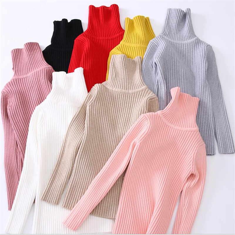 Детский свитер с воротником под горло Одежда для девочек осенне-зимние детские вязаные свитера для девочек, теплая верхняя одежда для детей 3, 4, 5, 6, 8, 10, 12 лет