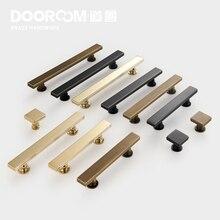 Dooroom tiradores de latón para muebles, tiradores de lujo de color negro y dorado, para armario, armario, barra de vino, cajón, pomos