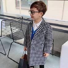 2021 New Baby Boys Girls X-long Plaid Jacket Kids Fashion Wool Coats Fall Spring Boy Clothing Toddler Children's Coat Outwears