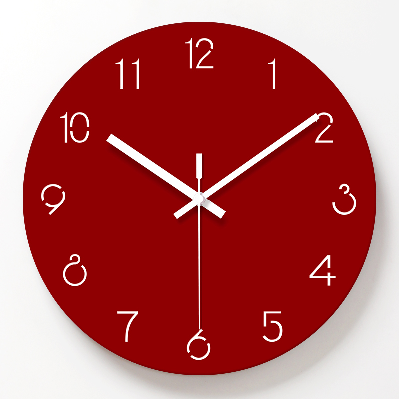 Simple Decorative Wall Clocks Acrylic Red Color Wall Clock Living Room Mute Quartz Hanging Clock Modern Design Home Decor