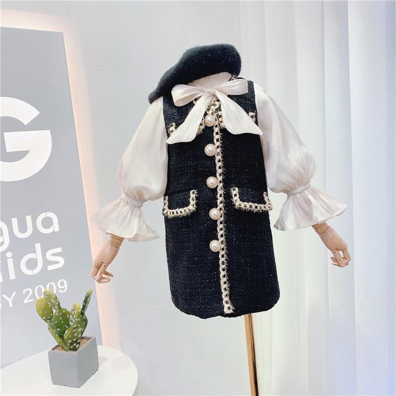 2021 autumn new arrival girls long sleeve princess dress kids tweed dress with bow 1