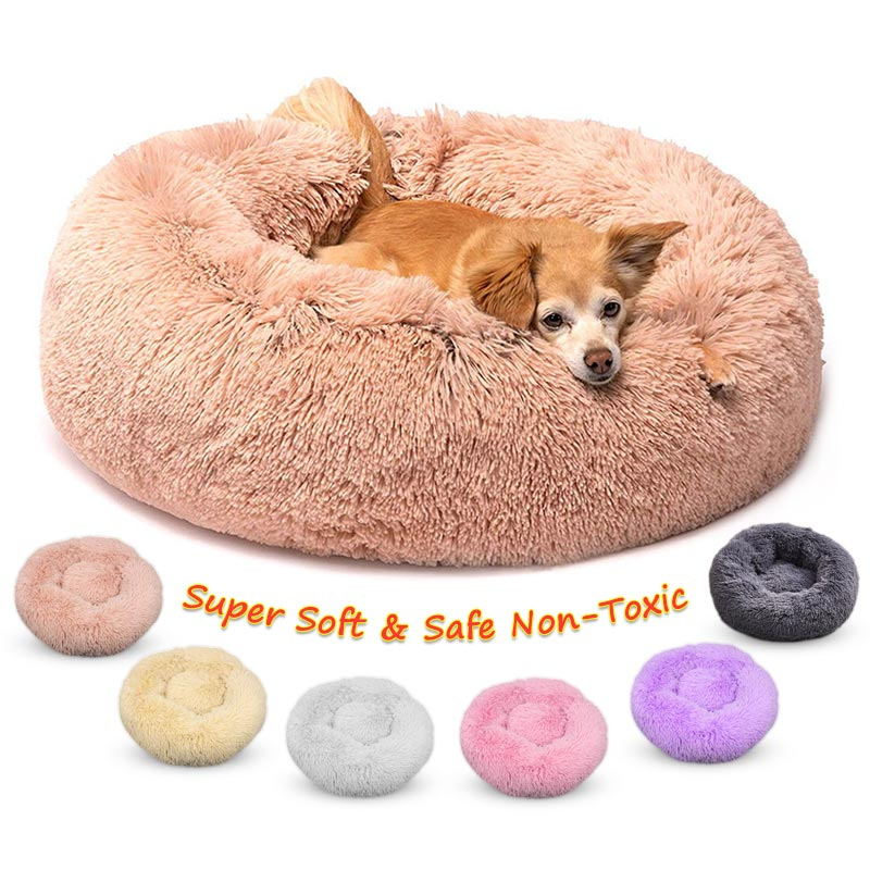 Round Dog Bed Waterproof Fluffy Long Plush Dogs Kennel Cats House Washable Cotton Sofa Winter Warmest Dog Big Basket Pet Bed