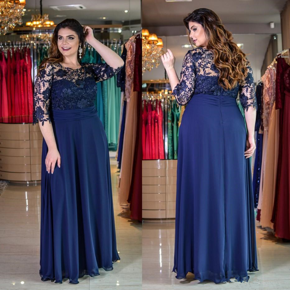 Vintage Plus Size Lace Mother Of The Bride Dresses With Half 2020 Vestido De Madrinha Sleeves A-Line Chiffon Prom Evening Gown
