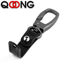 QOONG High Grade Alloy Men Key Chain Car Ring Holder Keychains Jewelry Bag Pendant Genuine Leather Gift Detachable Keyfob