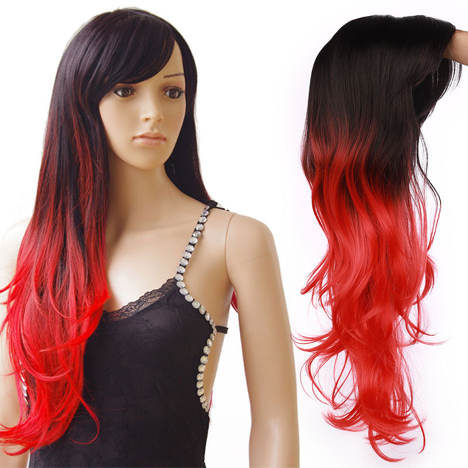 Cosplay Wig Synthetic Long Natural Straight Side Part Line Pink Purple Women Hair Costume Carnival Halloween Party Salon Hairpie
