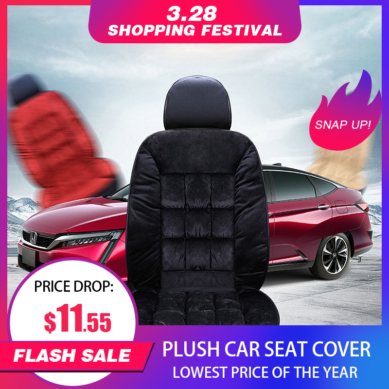 Universal Plush Car Seat Cover Warm Auto Front Back Backrest Seat Cushion Pad Car Winter Interior Protector Fur Car Seat Covers title=