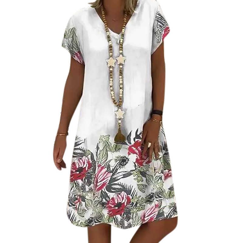 VICABO 2020 moda yaz elbisesi gevşek çiçek Pathcwork Vintage V boyun bayan elbise rahat kadın elbiseleri artı boyutu # w