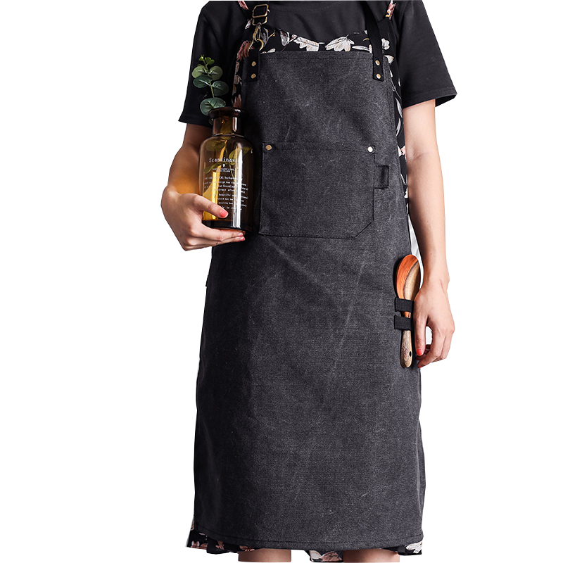 New Workshop Chef Tool kitchen Aprons for Women Man Heavy Duty Thick Water Resistant Washed Canvas with Pockets Work Wear Bib image