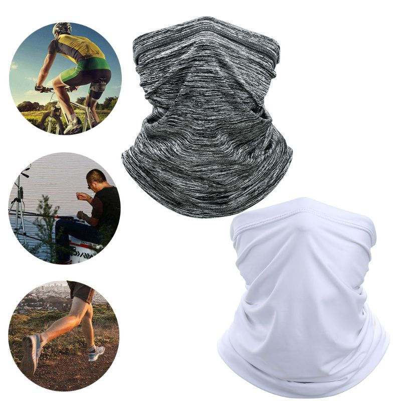 Unisex Outdoor Cycling Face Mask Neck Gaiter Tube Ice Silk Sun UV Protection Stretchy Scarf Solid Color Bandana Headband