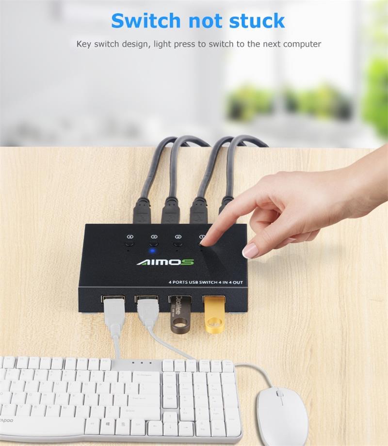 USB 2,0 переключатель KVM распределитель коробка для 4 PC обмена принтер клавиатура мышь KVM 4K USB HDMI KVM переключатель коробка видео дисплей