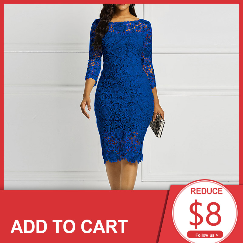 Dark Blue Scoop Neck Elegant Cocktail Dress 3/4 Sleeves Zipper Up Mermaid Knee Length Party Formal Women Cocktail Dresses