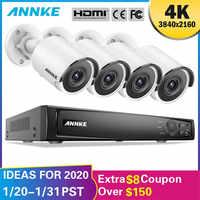 ANNKE 8CH 4K Ultra HD POE sistema de seguridad de vídeo en red 8MP H.265 NVR con 4 Uds 8MP cámara IP resistente a la intemperie con 1 TB/2 TB/4 TB HDD
