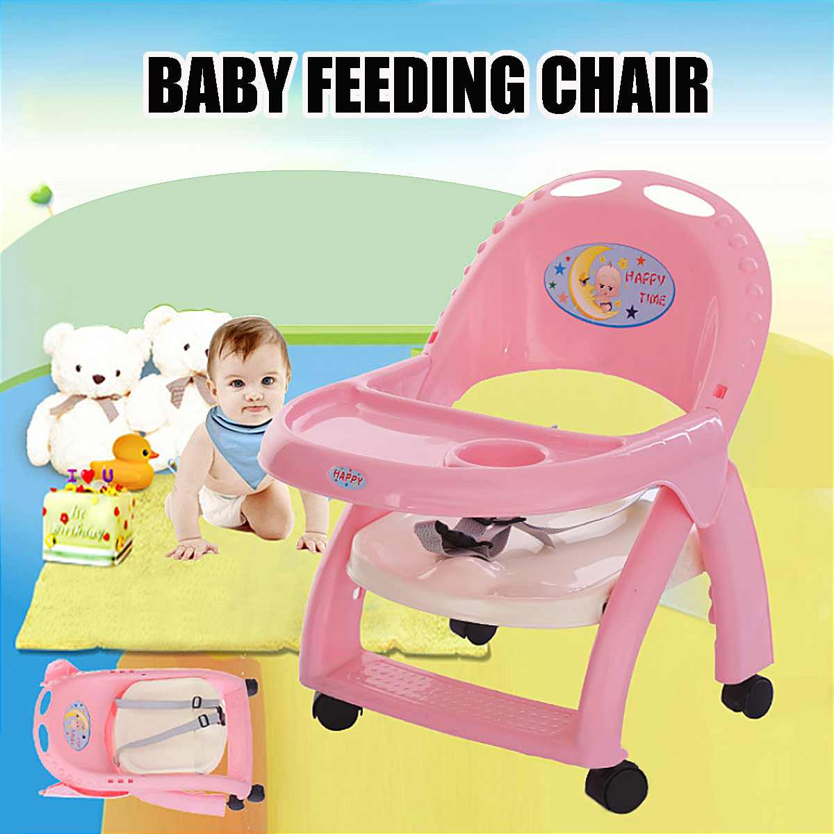 Baby Eating Feeding Table Seat Toddler Portable Booster Chair Foldable Adjustable Height Walker Rotary Wheels