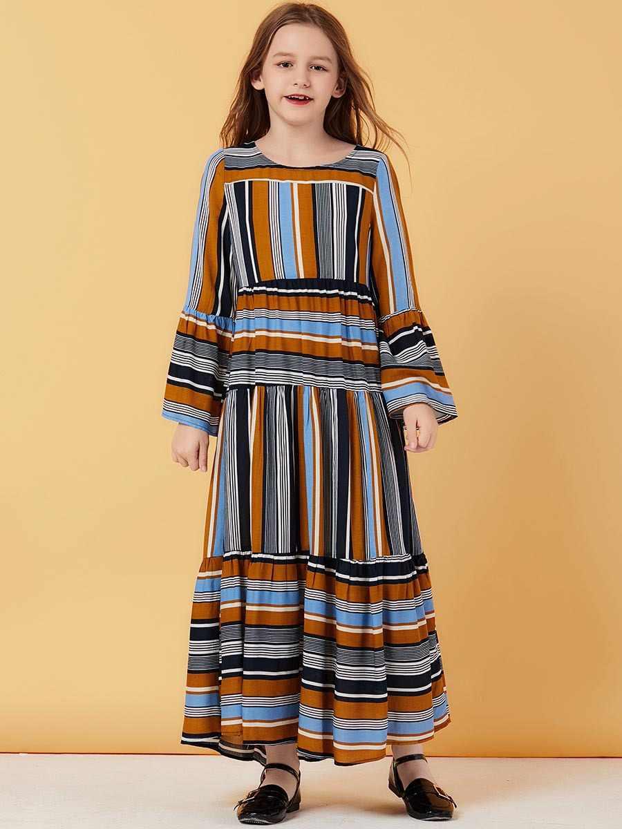 Абая для девочек, хиджаб для детей, мусульманское платье, Турецкая детская Абая с вышивкой, ислам, кафтан, Дубайский кафтан, Катар, Омани, ислам, ic, одежда