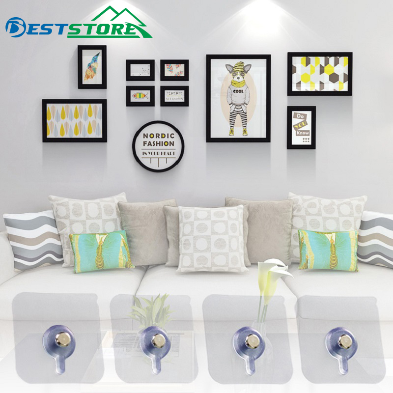 4Pcs/Set Decorative Painting Photo Frame Hanging Hook Bathroom Wall Strong Suction Cup Sticking Nail