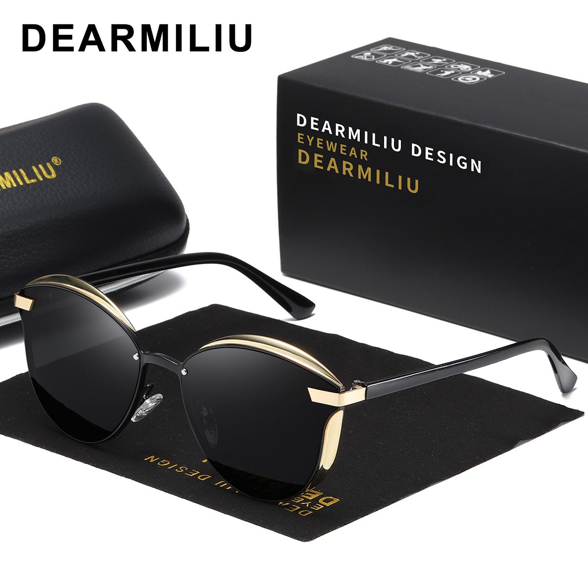 DEARMILIU New Cat Eye Sunglasses Women Polarized Fashion Ladies Sun Glasses Female Vintage Shades Oculos de sol Feminino 0824(China)