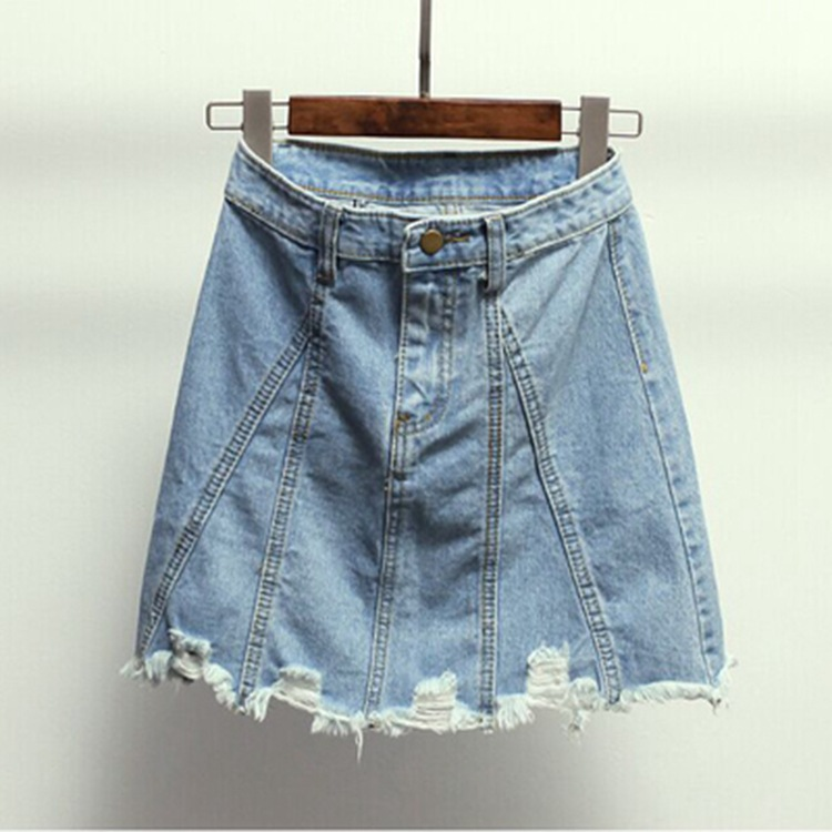 2018 Summer Women's Dress Europe And America New Style High-waisted A- Line Skirt Versatile Denim Skirt Women's Skirt