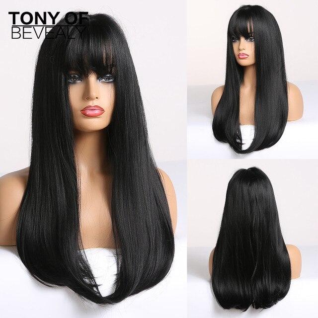 ארוך ישר שיער שחור עם פוני סינטטי פאות לנשים אפריקאי אמריקאי טבעי יומי שיער פאות חום סיבים עמידים