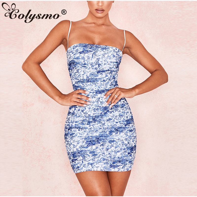 Colysmo  2 Layers Floral Print Summer Dress 2019 Women Sleeveless Ruched Slim Bodycon Club Wear Sexy Dress Casual Beach Dress
