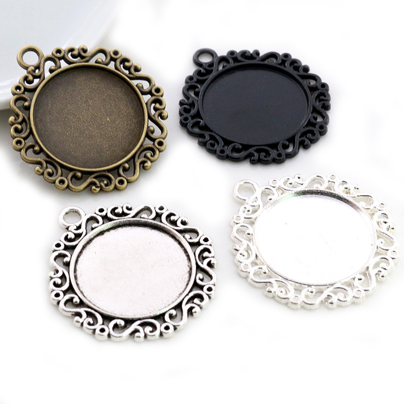 New Fashion 5pcs 25mm Inner Size Black Antique Silver Plated Classic Flower S Style Cabochon Base Setting Charms Pendant