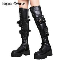 Platform Combat Laarzen Punk Black Leather Pocket Mode Dansen Laarzen Gespen Lock Over De Knie Lange Laarzen Sexy Platform Schoenen